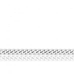 Chaîne Gourmette, Or Blanc 9K, longueur 55 cm