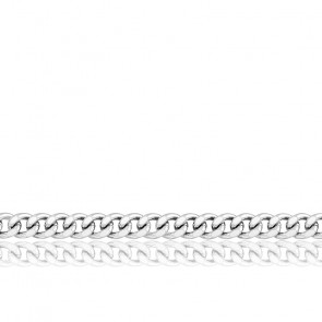 Chaîne Gourmette, Or Blanc 18K, longueur 55 cm