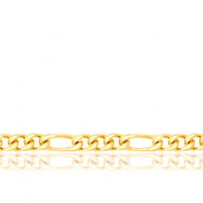 Chaîne Maille Cheval Alternée Triple Ultra-Plate, Or Jaune 18K, longueur 60 cm
