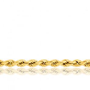 Chaîne Corde Torsadée Creuse, Or Jaune 18K, longueur 42 cm