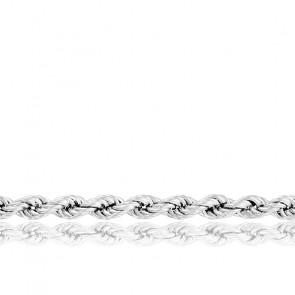 Chaîne Corde Torsadée Massive, Or Blanc 18K, longueur 65 cm