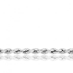 Chaîne Corde Torsadée Massive, Or Blanc 18K, longueur 90 cm