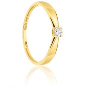 Bague Solitaire Diamant 0.10ct & Or 18K