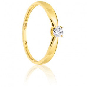 Bague Solitaire Diamant 0.20ct & Or 18K