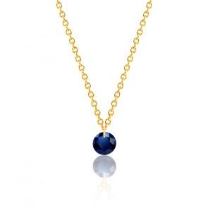 Collier Saphir bleu roi percé 0,30 ct Or Jaune 18K