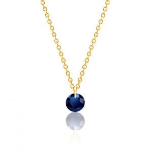 Collier Saphir bleu roi percé 0,43 ct Or Jaune 18K