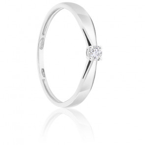 Bague Solitaire Diamant 0.07ct & Or Blanc 18K