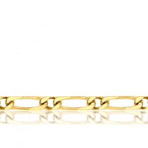 Chaîne Maille Cheval Alternée, Or Jaune 18K, longueur 50 cm
