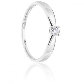 Bague Solitaire Diamant 0.15ct & Or Blanc 18K