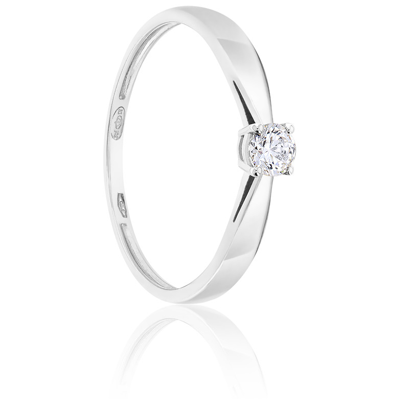 Bague Solitaire Diamant 0.20ct & Or Blanc 18K