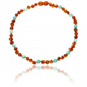 Collier ambre & turquoise 34 cm