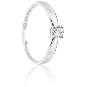 Bague Solitaire Diamant 0.25ct & Or Blanc 18K