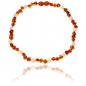 Collier ambre & quartz rose 34 cm