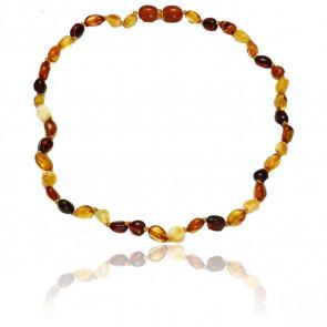 Collier d'ambre oval multicolore 34 cm