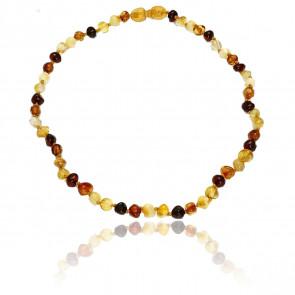 Collier ambre multicolore 34 cm