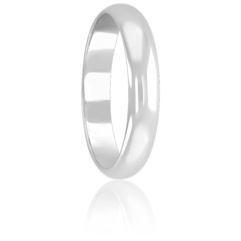 Alliance Demi-jonc 4 mm & Or Blanc 18K
