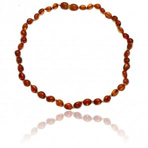 Collier ambre oval cognac 34 cm