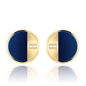 Boutons de Manchette Acier Bleu &  Jaune