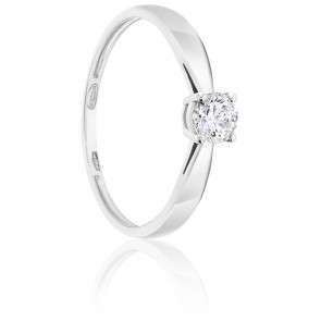 Bague Solitaire Diamant 0.30 ct & Or Blanc 18K