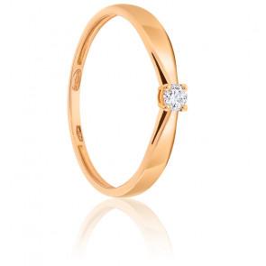 Bague Solitaire Diamant 0.07ct & Or Rose 18K