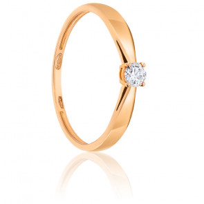 Bague Solitaire Diamant 0.15ct & Or Rose 18K