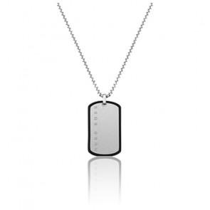 Collier acier et silicone noir médaille rectangulaire
