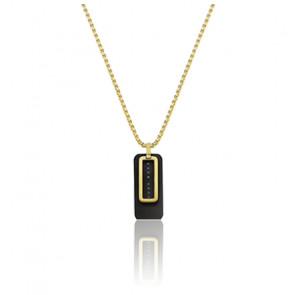 Collier acier couleur noir et or jaune