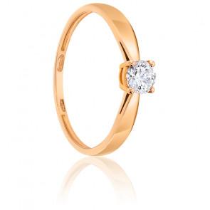 Bague Solitaire Diamant 0.30 ct & Or Rose 18K