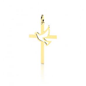 Croix Colombe Ajourée 20 mm, Or jaune