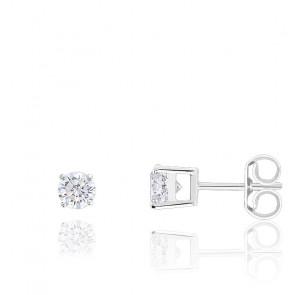 Boucles d'oreilles Diamants HSI & Or Blanc 18K