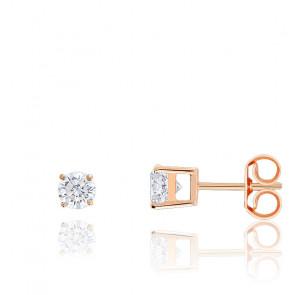 Boucles d'oreilles Diamants HSI & Or Rose 18K