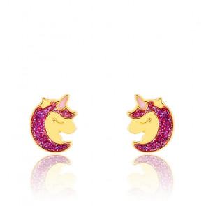 Boucles d'oreilles tête de licorne or jaune 9K