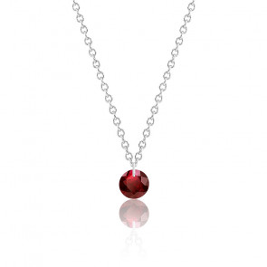 Collier Rubis rouge percé 0,32 ct Or Blanc 18K