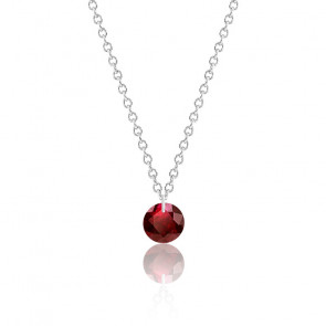 Collier Rubis rouge percé 0,47 ct Or Blanc 18K