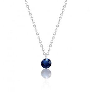 Collier Saphir bleu roi percé 0,30 ct Or Blanc 18K