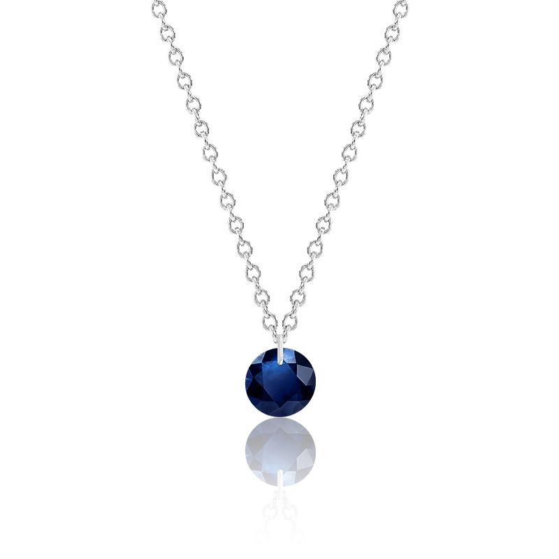Collier Saphir bleu roi percé 0,43 ct Or Blanc 18K