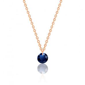 Collier Saphir bleu roi percé 0,43 ct Or Rose 18K