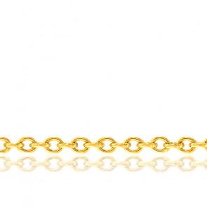 Bracelet Maille Forçat Ronde, Or Jaune 18K, longueur 23 cm