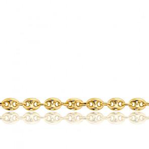 Bracelet Grain de Café Massif, Or Jaune 18K, longueur 18 cm