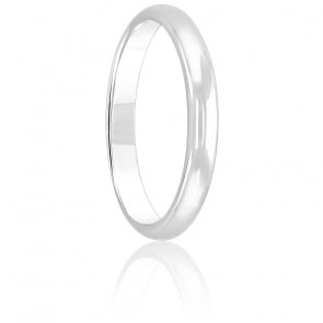 Alliance Demi Jonc 2,50 mm Or Blanc 18K