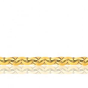 Bracelet Maille Haricot Plate, Or Jaune 18K, longueur 20 cm
