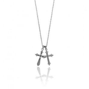 Collier croix double baroque argent noirci