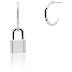 Boucles d'oreilles cadenas Bond Argent (AR02-349-U)