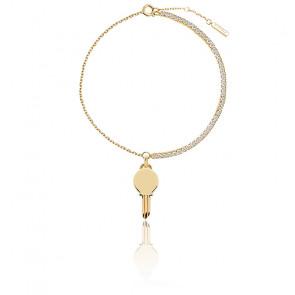 Bracelet Clé Eternum, Plaqué Or et zircons blancs (PU01-123-U)