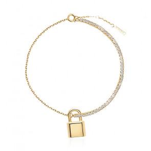 Bracelet Cadenas Bond, Plaqué or et zircons blancs (PU01-046-U)