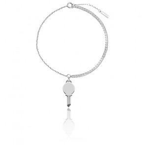 Bracelet Clé Eternum, Argent et zircons blancs (PU02-123-U)