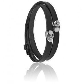 Bracelet double Wrap Atticus Skull en noir et argent
