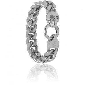 Bracelet chaîne gourmette Atticus Skull en argent