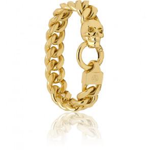 Bracelet chaîne gourmette Atticus Skull en plaqué or 18 carats