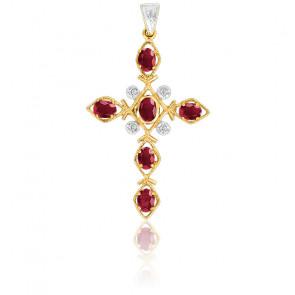 Pendentif Croix Or Jaune 18K Diamants & Rubis